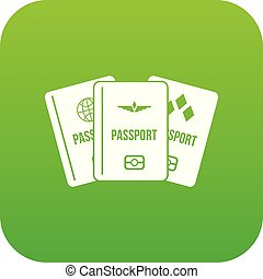 Passports icon digital green