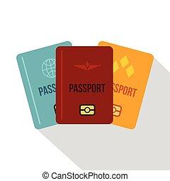Passports icon, flat style