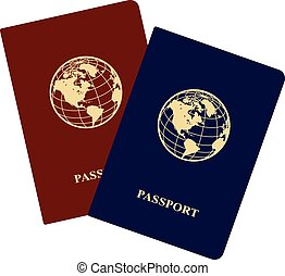 Passports - International red and blue passports with icon ...