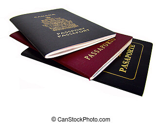 """Passports of different countries. Word """"passport"""" in four ..."""