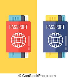 Passports set flat illustration