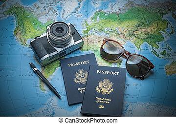 Passports to world travel - Passports for travel, camera and...
