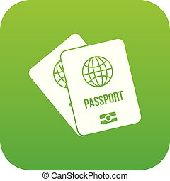 Passports with map icon digital green