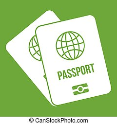 Passports with map icon green