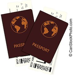 Passports with plane tickets