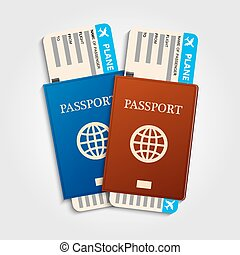 Passports with tickets.