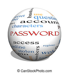 Password 3D sphere Word Cloud Concept