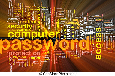 Password background concept glowing