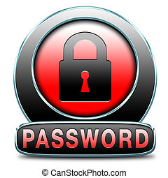 Password button data protection by using strong safe passwords protected recover and change for security and safety