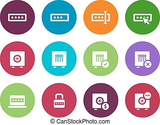 Password circle icons on white background. Vector...