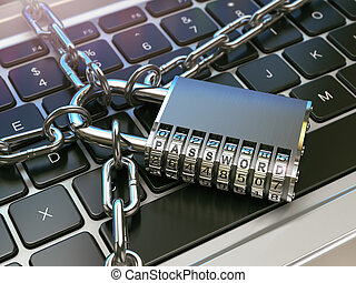 Password. Computer security or safety concept. Laptop keyboard with lock and chain.