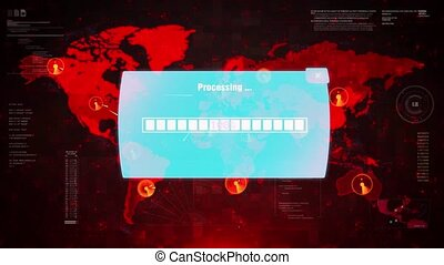 Password Hacked Alert Warning Attack on Screen World Map. -...