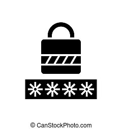 password - login lock icon, vector illustration, black sign on isolated background