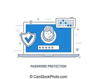 Password protection. Flat modern line-art vector...