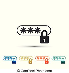 Password Protection with lock icon isolated on white background. Set elements in colored icons. Flat design. Vector Illustration