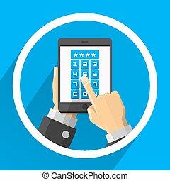 Password screen device flat art. Vector illustration