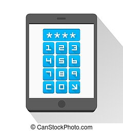 Password screen device flat art. Vector illustration