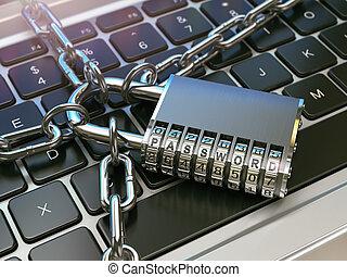 password., security computer, eller, sikkerhed, concept., laptop klaviatur, hos, lås, og, chain.