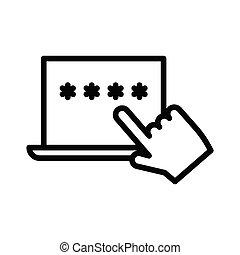 password thin line icon