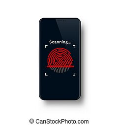 Password Touch ID phone on the white background.