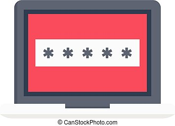 password vector flat colour icon