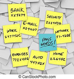 Passwords Written on Sticky Notes - Many sticky notes with...