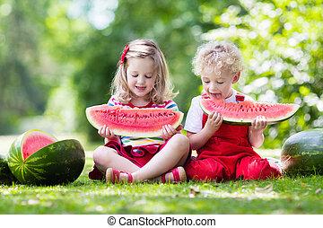pastèque, badine manger, jardin