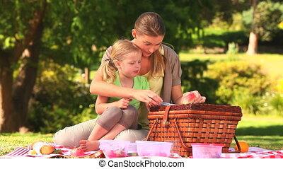pastèque, manger, fille, maman