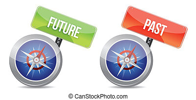 past and future Glossy Compass illustration design