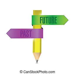 past and future pencil banner illustration design