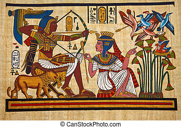 Past - Antique egyptian papyrus and hieroglyph