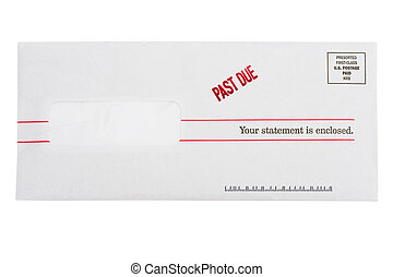 Past Due Bill - Envelope with past due on a isolated on ...