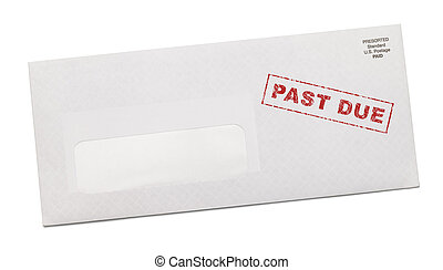 Past Due Bill with Blank Copy Space Isolated on White Background.