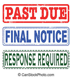 past due final notice stamp - past due grunge stamp with on...