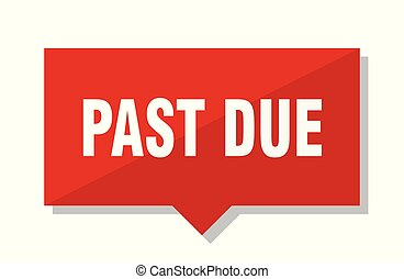 past due red tag - past due red square price tag