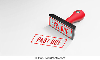 PAST DUE rubber Stamp 3D rendering