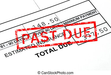 Past due stamp on a bill statement