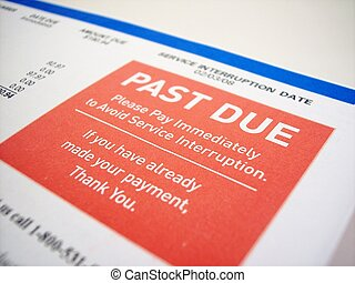 Past Due - Close up of a past due notice on a bill