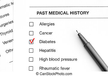Past medical history questionary with marks on word Diabetes and pen.
