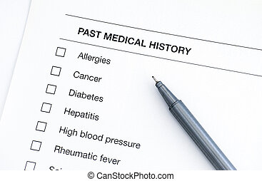 Past medical history questionary with pen.
