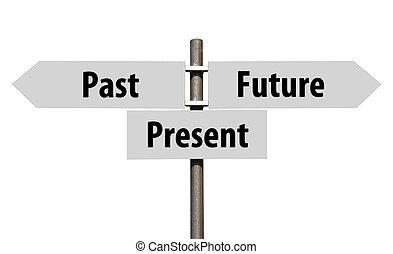 Past, Present and Future sign - conceptual picture of a ...