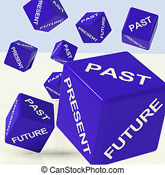 Past Present Future Blue Dice Showing Evolution And Destiny