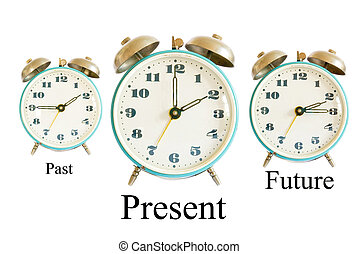 Past Present Future - three different clocks showing ...