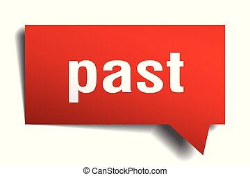 past red 3d speech bubble - past red 3d square isolated...