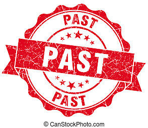 past red grunge seal isolated on white