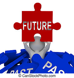 Past Vs Future Jigsaw Compares Life Gone With Upcoming Prospects. Looking At Destiny, Fate And Opportunity - 3d Illustration