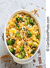 pasta and broccoli casserole - casserole with pasta, cheese...