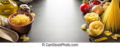 pasta and food ingredient  on table background