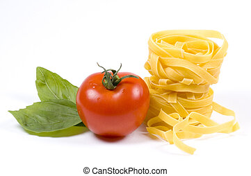 pasta and garnish - Some tagliatelle with a tomato and basil...