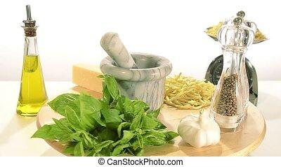 pasta and pesto - italian food, pasta and pesto